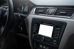 Car navigation system in modern car interior with mock up.  display of multimedia. Car navigation system in modern car interior with mock up.  display of Royalty Free Stock Photos