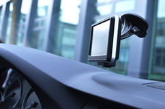 Car navigation system. On the window Royalty Free Stock Photos