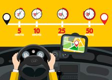 Car Navigation with Time Icons. Vector Road Map. With Pins Vector Illustration