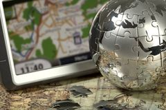 Car Navigator On The Old Map. Stock Image