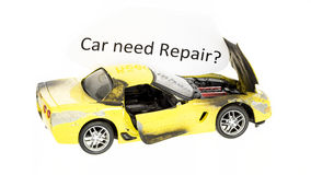 Car need repair sign with toy Stock Images