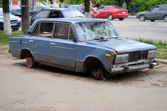 Car neglected. On city streets Royalty Free Stock Image