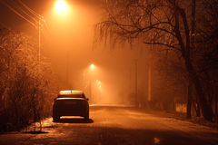 Car at night. Car stay at road at night Stock Photos