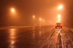 Car at night. Car stay at road at night Stock Image