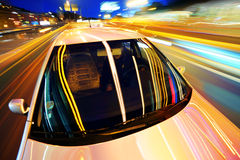 Car in night city. Car motion in night city Royalty Free Stock Image
