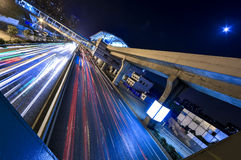 The car of night flows. Dead hour the car of the inside city flows Royalty Free Stock Photography
