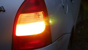 Car night machine back blinker light turn beautiful city highlight road safety. Car night machine back blinker light turn a beautiful city highlight road safety stock video footage