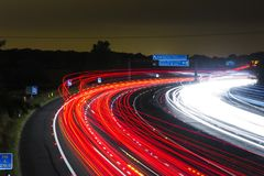 Car, Night, Race Track, Highway Stock Image