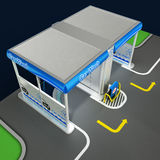 Car non-contact washing of self-service. Scheme of the working process of equipment. Illustration 3d model. Car non-contact washing of self-service. Scheme of Vector Illustration