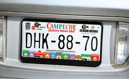 Car number plates on car in Campeche City Yukatan February 14, 2014 Mexico Royalty Free Stock Images