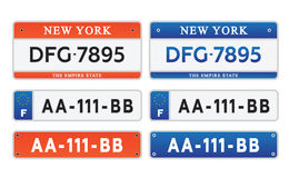 Car number plates license set  illustration eps10 Royalty Free Stock Photography