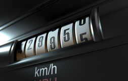 Car Odometer High. A 3D render of an analogue car odometer concept showing a very high mileage Stock Photos