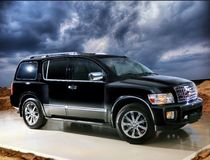The car, off-road car on a background of the sky. The black car, off-road car, costs on the nature, on a background of sand and the sky Stock Photography