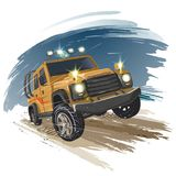 Car off-road. Car rushes along the road. eps 10 vector illustration