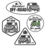 Car off-road 4x4 suv trophy truck logo set. Off-road suv car emblems, badges and icons. Rock crawler car vector illustration