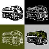 Car off-road 4x4 suv trophy truck. Set of classic off-road suv car emblems, badges and icons. Rock crawler car royalty free illustration