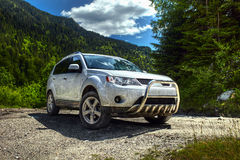 Car on an offroad track Royalty Free Stock Image