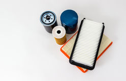 Car oil and air filter  on a white background isolated.  Auto Parts. Spare parts. Royalty Free Stock Photography