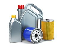Car oil filter and motor oil canisters isolated on white background. Auto service and car maintenance concept. stock illustration