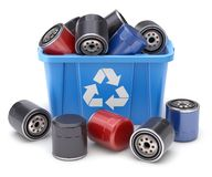 Car oil filters in blue recycle crate stock illustration