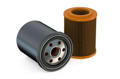 Car Oil filters. Isolated on white background Stock Photos