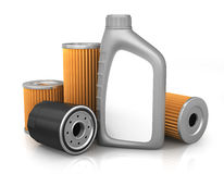Car oil filters and motor Royalty Free Stock Images