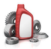 Car oil filters and motor. Oil can isolated on white Royalty Free Stock Image