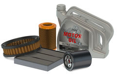 Car oil filters and motor oil can Royalty Free Stock Image