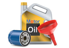 Car oil filters and motor oil plastic can, 3d illustration. 3D render, isolated on white background Royalty Free Stock Photos