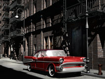 Car in old city. A red chevy parked in an old fashioned Manhattan street Stock Image