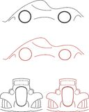Car. Old car vector, ilustration lines Royalty Free Stock Photos