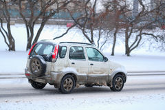 Car On A Snow-covered Road After High Snow-storm In Moscow Royalty Free Stock Photo