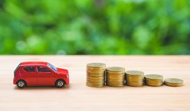 Free Car On Stack Of Coin. Saving Money For Car Concept. Car Finance, Buy Car New Concept Royalty Free Stock Photography - 161381147