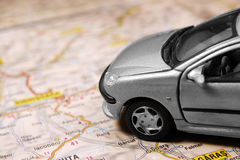 Car On The Map Stock Photos