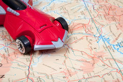 Car On World Map Stock Photos