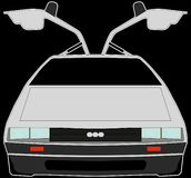 Car with open doors delorean stock illustration