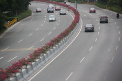 The car ordered driving on curved road in SHENZHEN Royalty Free Stock Photography