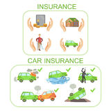 Car And Other Insurance Infographic Poster. In Simple Flat Bright Color Style On White Background Stock Image