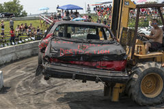 Car out of demolition derby. Napierville demolition derby, July 12, 2015, picture of car out at the end of the demolition derby stock image