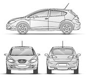 Car Outline. Car with outline, front, Back, Side view royalty free illustration