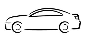 Car Outline. Vector Illustration. Royalty Free Stock Images