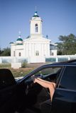 Car outside church  Stock Photo