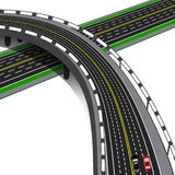 Car overpass crosses the highway. Road interchange. illustration Royalty Free Stock Photography