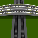 Car overpass crossing the railway. An arch bridge. illustration Royalty Free Stock Images