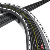 Car overpass crossing the railway. Cars. illustration Stock Image
