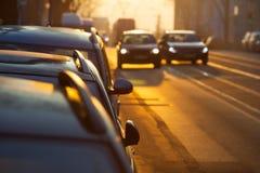 Car Overtake Street Scene Stock Photo
