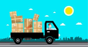 Car with Packages. Delivery Service Cartoon. Vector Flat Design Illustration Stock Illustration