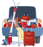 Car packed for a ski trip Royalty Free Stock Photos