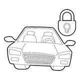 Car and padlock icon, isometric 3d style Royalty Free Stock Image