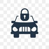 Car and Padlock vector icon isolated on transparent background, stock illustration